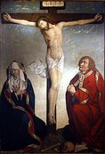 Le Christ entre la Vierge et Saint Jean, retable peint vers 1500, photo de Rama