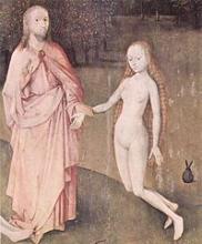 Jésus prenant la main d'Ève, peinture de Jérôme Bosch, 1500