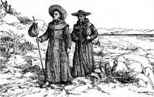 Missionnaires franciscains en Californie, dessin tiré de San Juan Capistrano Mission de Engelhardt, Zephyrin (1922).